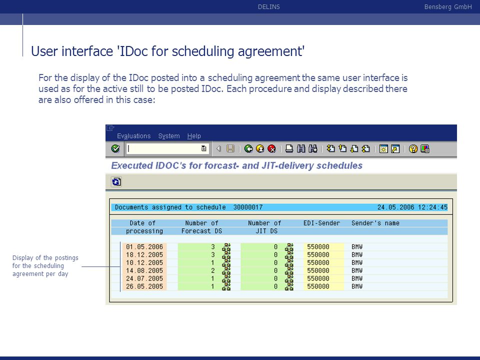 User interface IDoc for scheduling agreement