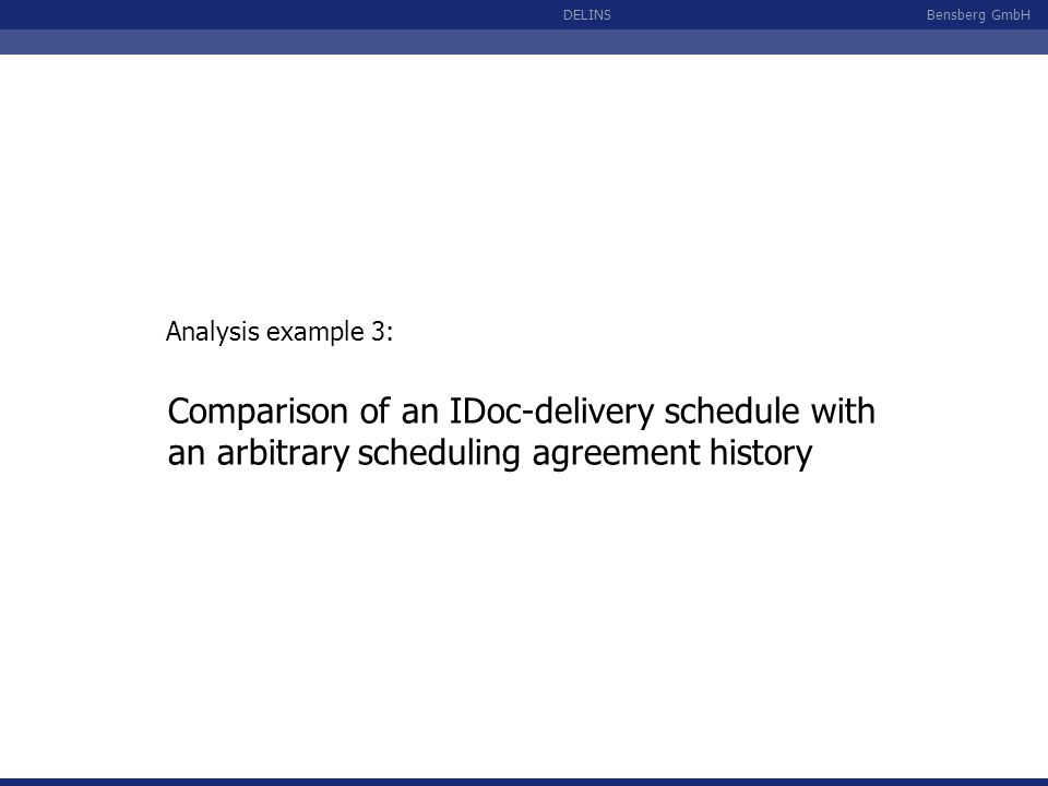 Analysis example 3: Comparison of an IDoc-delivery schedule with an arbitrary scheduling agreement history.