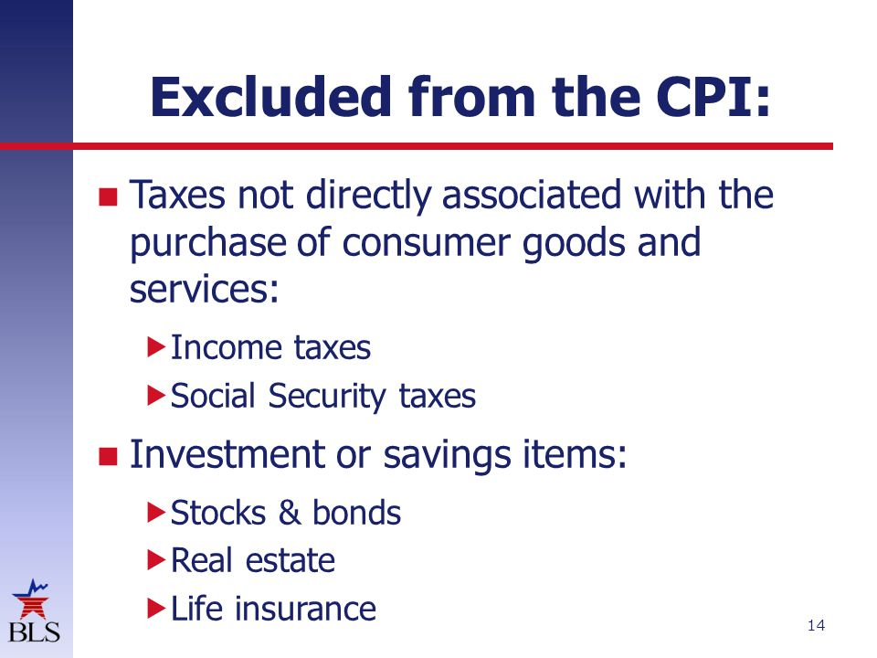 Excluded from the CPI: Taxes not directly associated with the purchase of consumer goods and services: