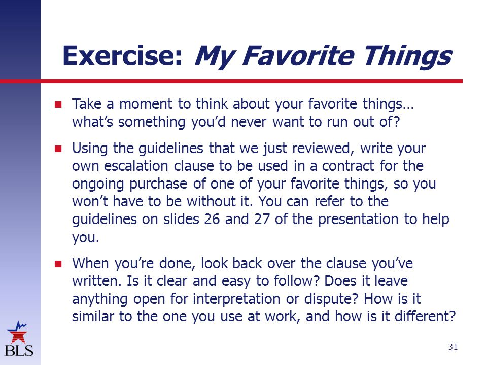 Exercise: My Favorite Things