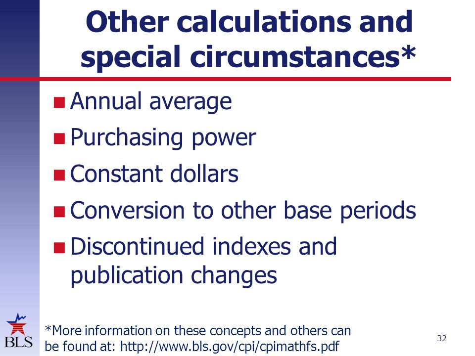 Other calculations and special circumstances*