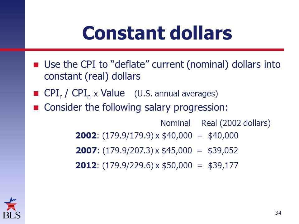 Constant dollars Use the CPI to deflate current (nominal) dollars into constant (real) dollars. CPIr / CPIn x Value (U.S. annual averages)