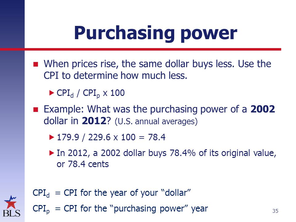 Purchasing power When prices rise, the same dollar buys less. Use the CPI to determine how much less.