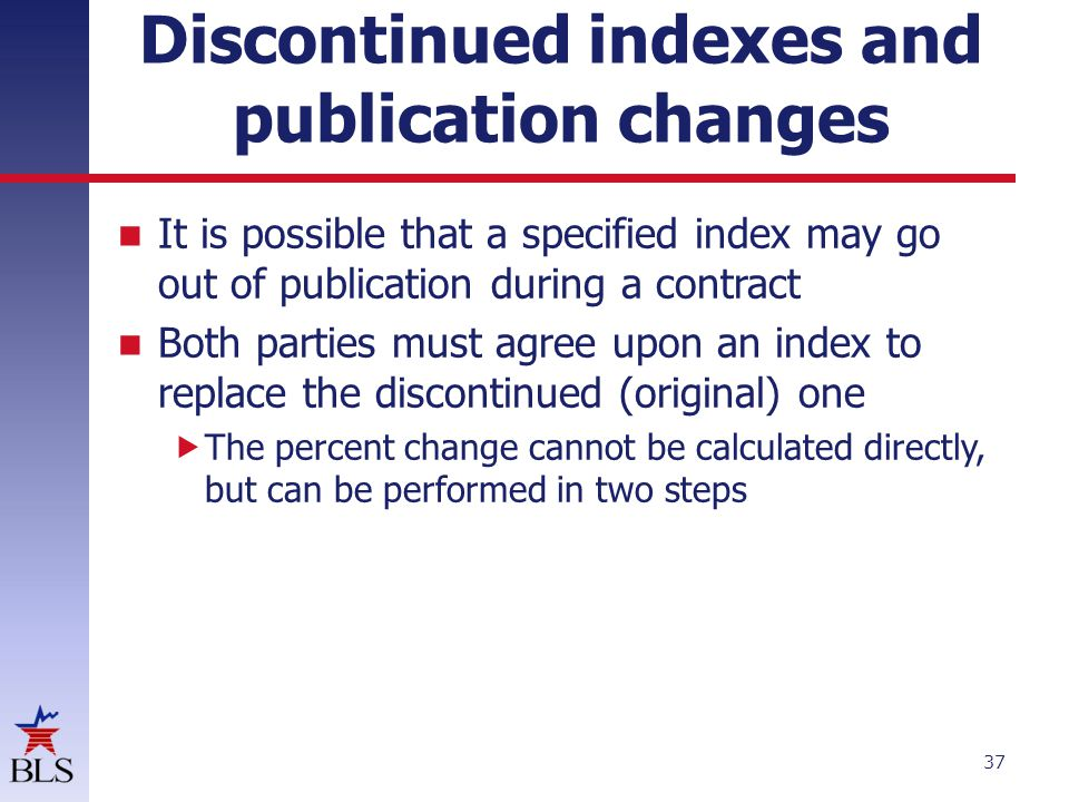 Discontinued indexes and publication changes