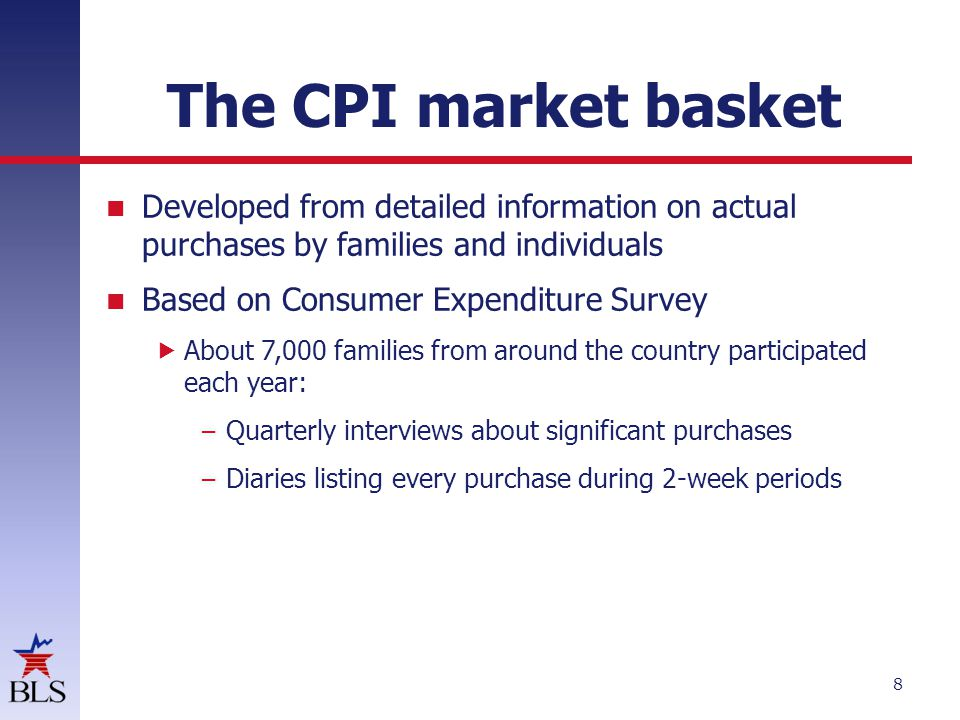 The CPI market basket Developed from detailed information on actual purchases by families and individuals.