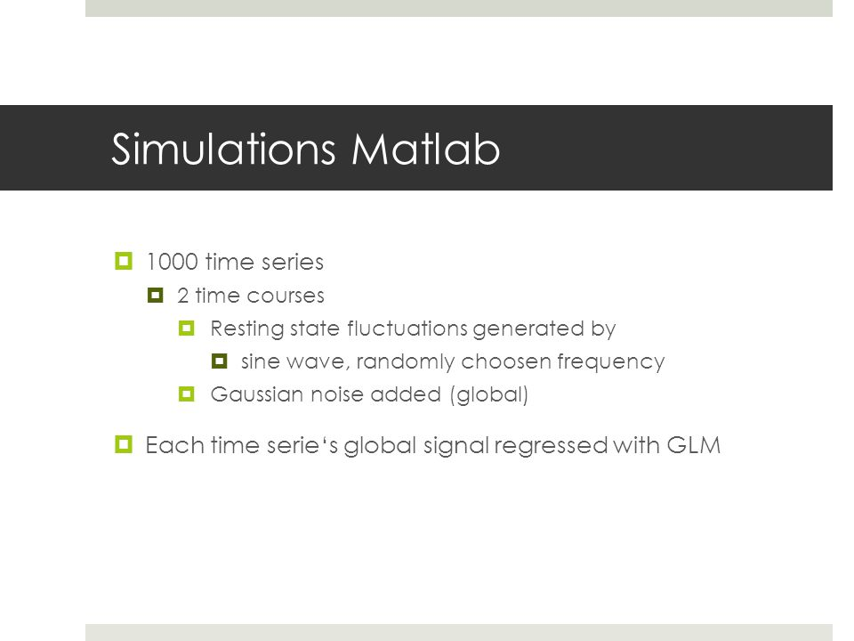 Simulations Matlab 1000 time series