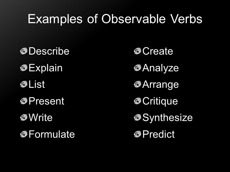 Examples of Observable Verbs
