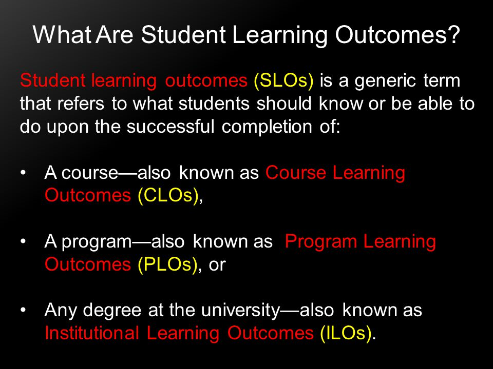 What Are Student Learning Outcomes