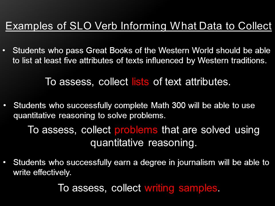 Examples of SLO Verb Informing What Data to Collect