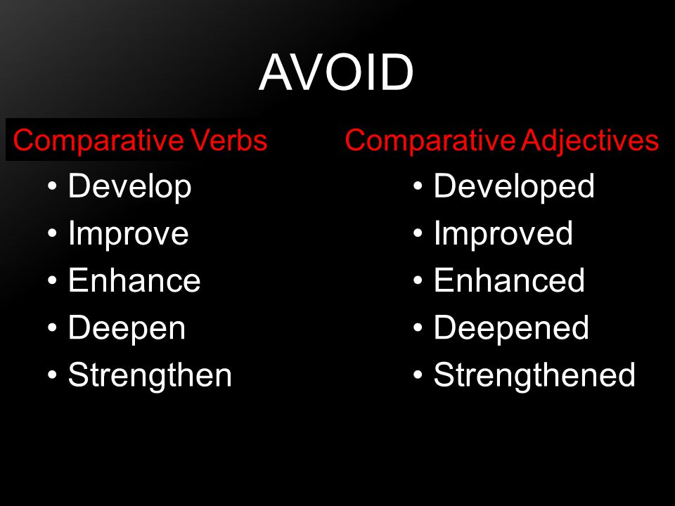 Avoid Develop Developed Improve Improved Enhance Enhanced Deepen
