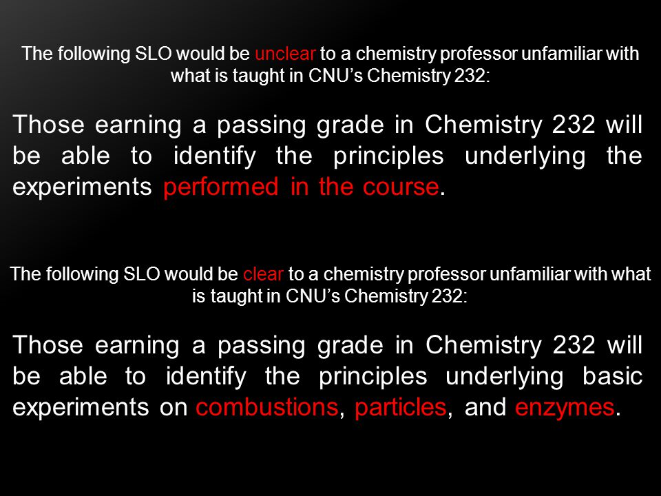 The following SLO would be unclear to a chemistry professor unfamiliar with what is taught in CNU's Chemistry 232: