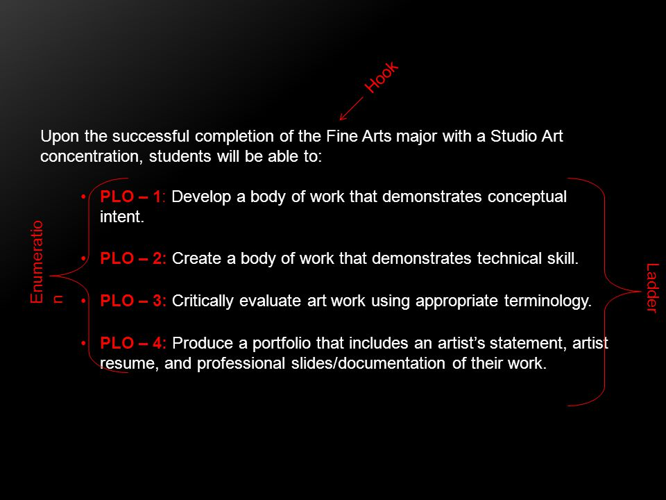 Upon the successful completion of the Fine Arts major with a Studio Art concentration, students will be able to: