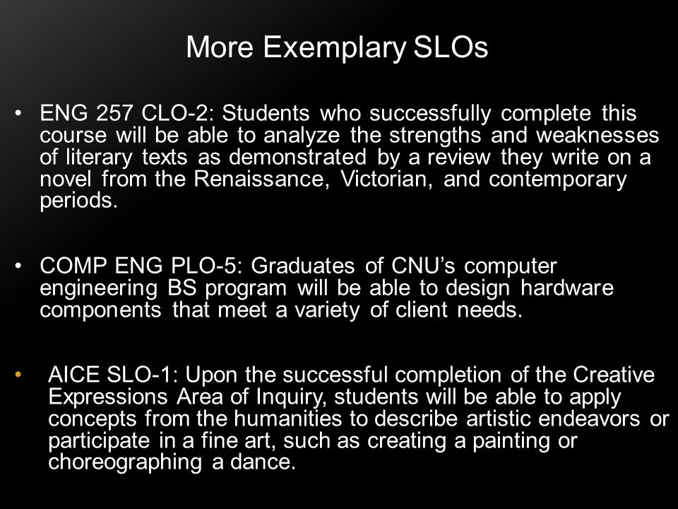 More Exemplary SLOs