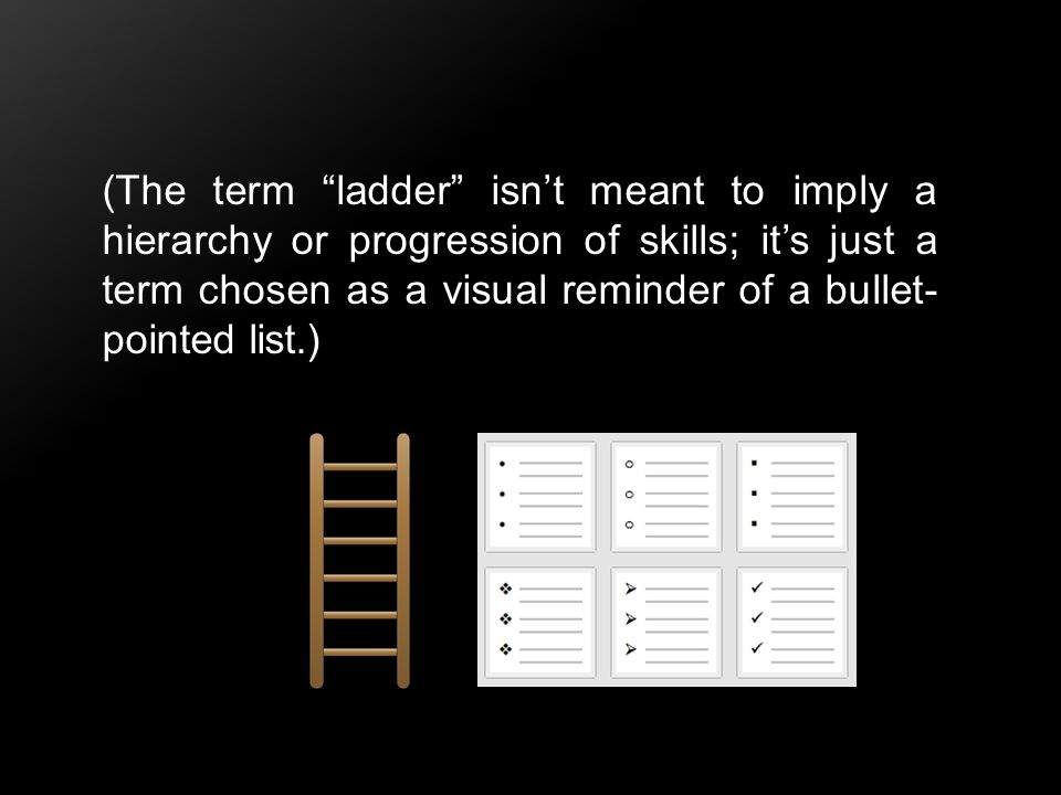 (The term ladder isn't meant to imply a hierarchy or progression of skills; it's just a term chosen as a visual reminder of a bullet-pointed list.)