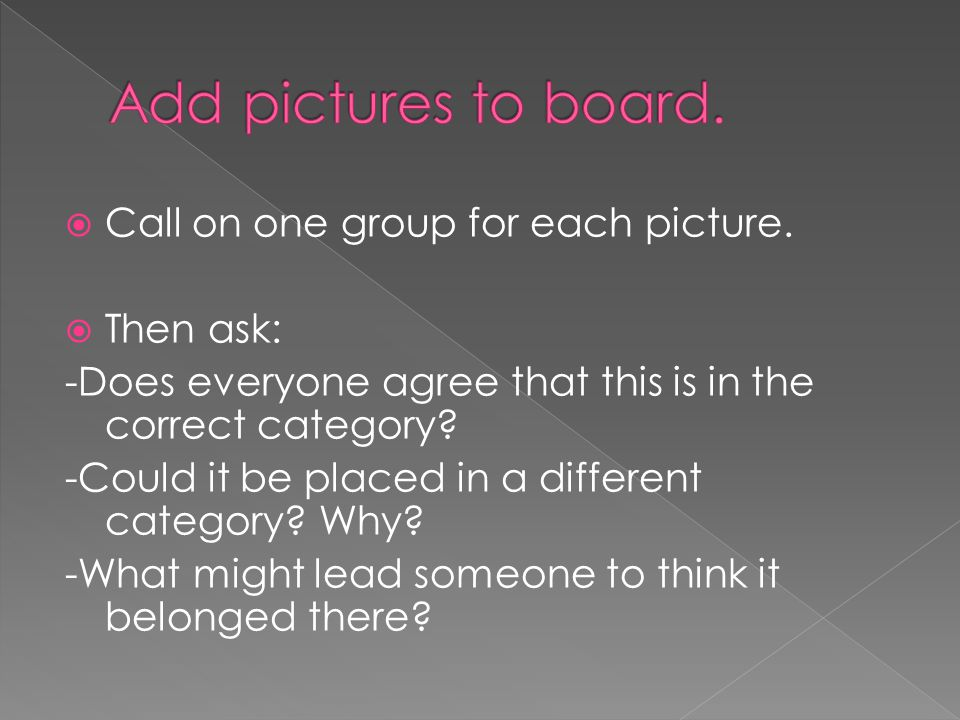 Add pictures to board. Call on one group for each picture. Then ask: