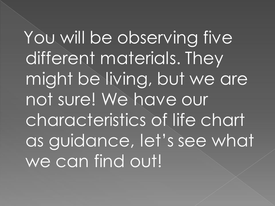 You will be observing five different materials