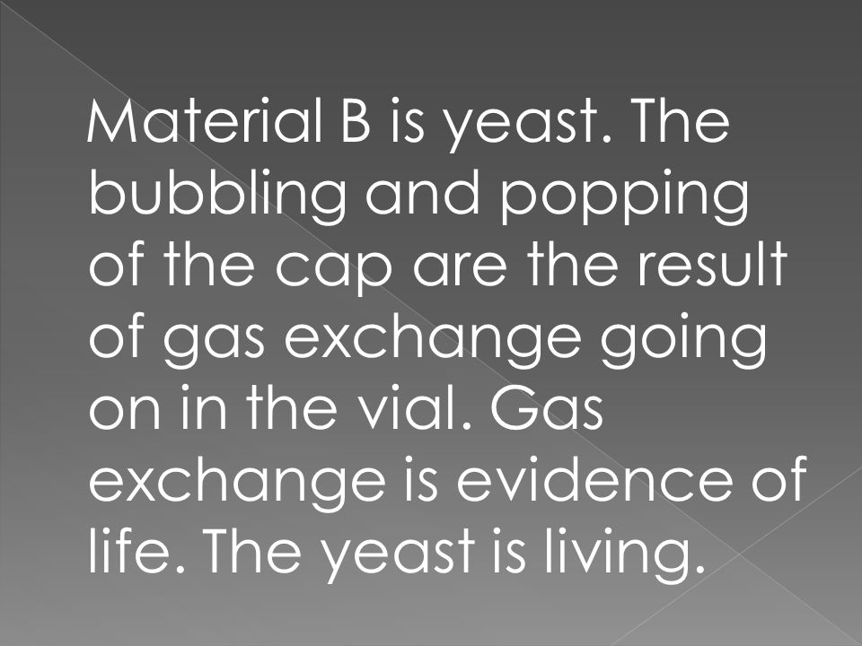 Material B is yeast.
