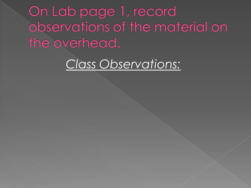 On Lab page 1, record observations of the material on the overhead.
