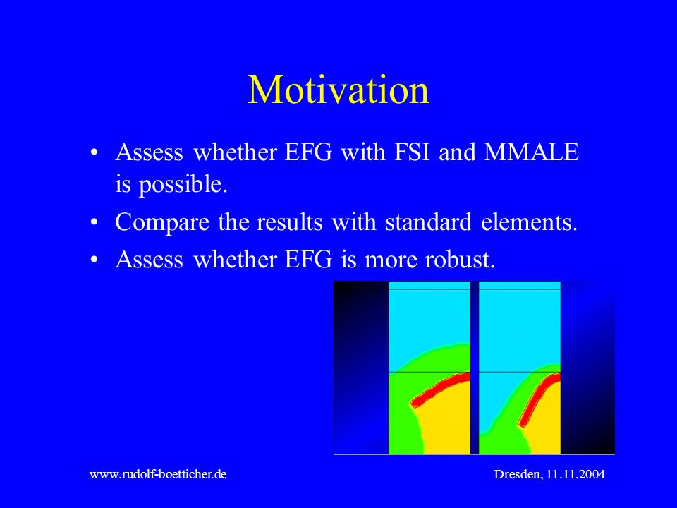 Motivation Assess whether EFG with FSI and MMALE is possible.