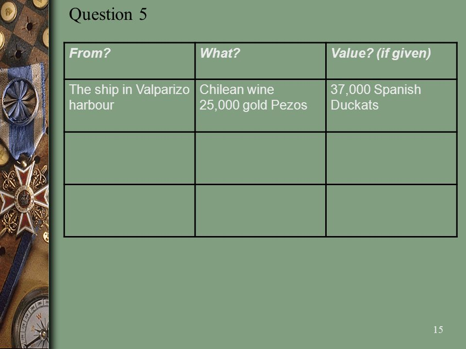 Question 5 From What Value (if given) The ship in Valparizo harbour