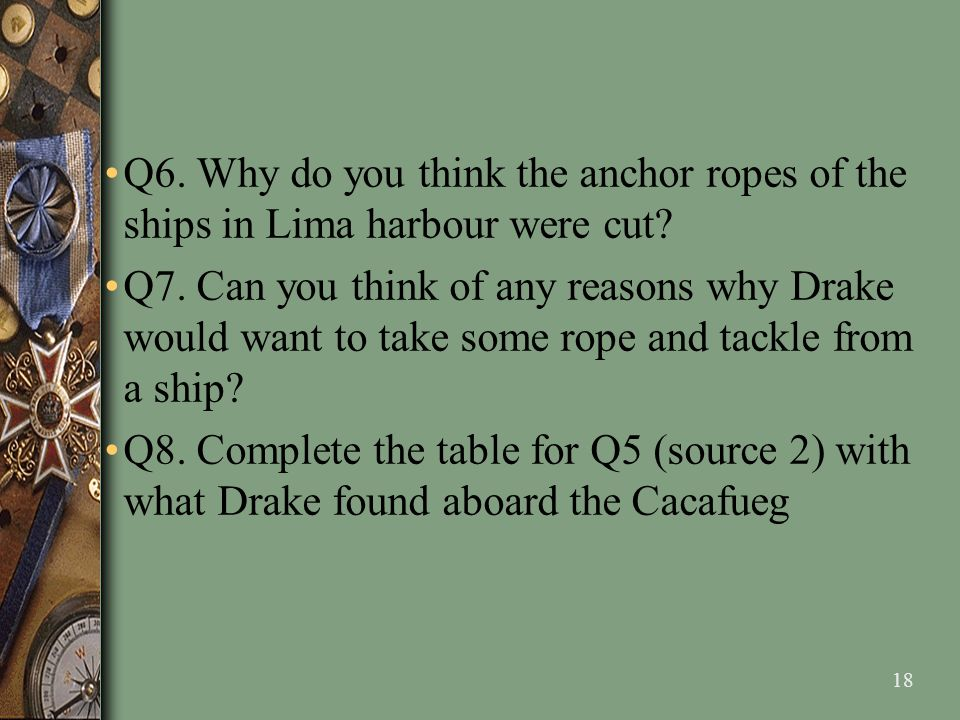 Q6. Why do you think the anchor ropes of the ships in Lima harbour were cut