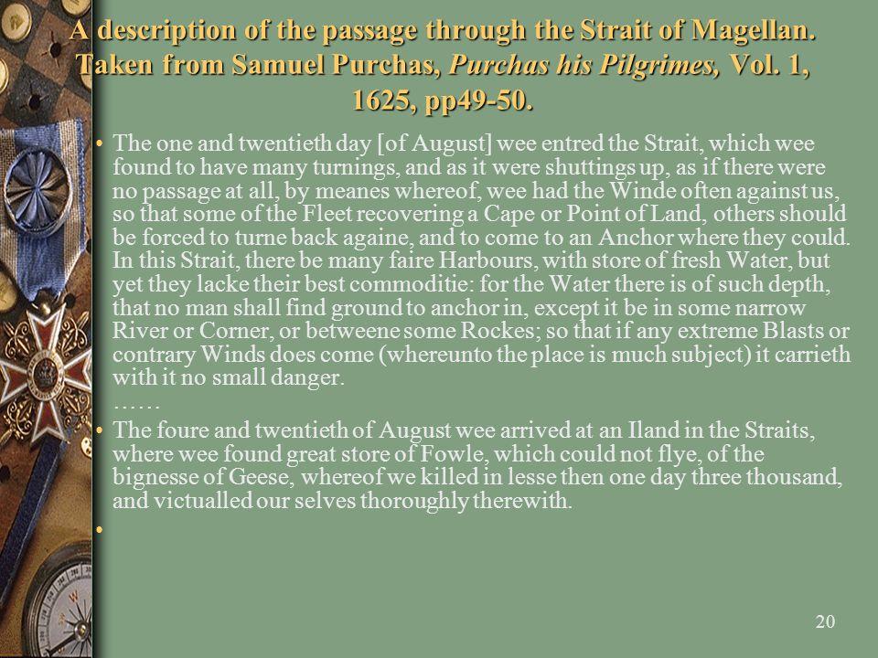 A description of the passage through the Strait of Magellan