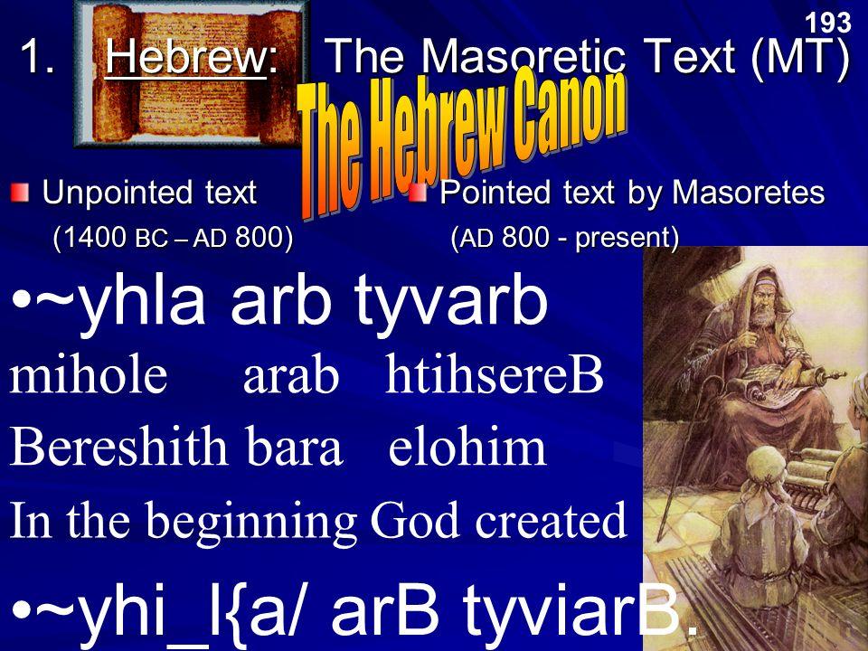 1. Hebrew: The Masoretic Text (MT)