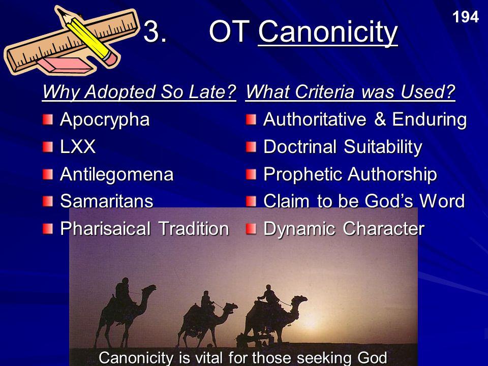 3. OT Canonicity Why Adopted So Late Apocrypha LXX Antilegomena