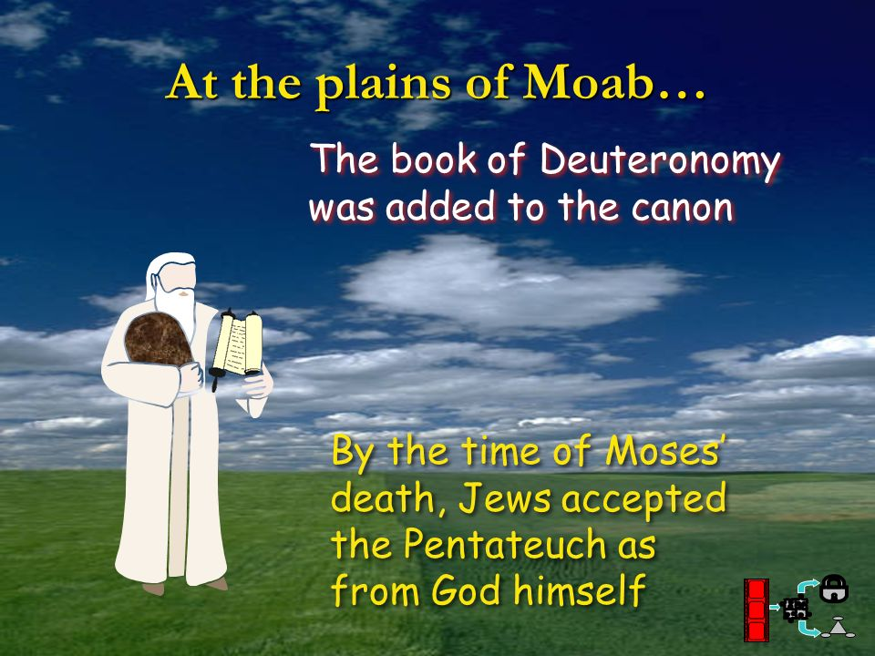 At the plains of Moab… The book of Deuteronomy was added to the canon