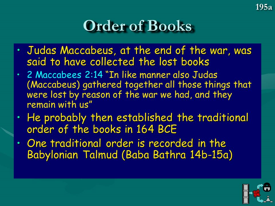 195a Order of Books. Judas Maccabeus, at the end of the war, was said to have collected the lost books.
