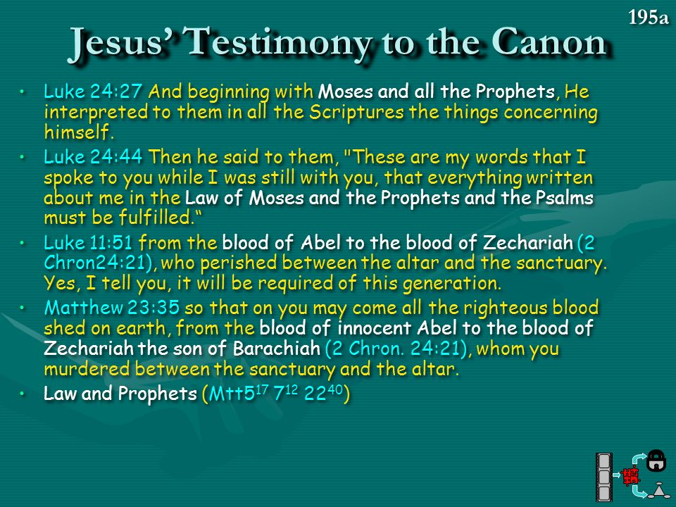Jesus' Testimony to the Canon