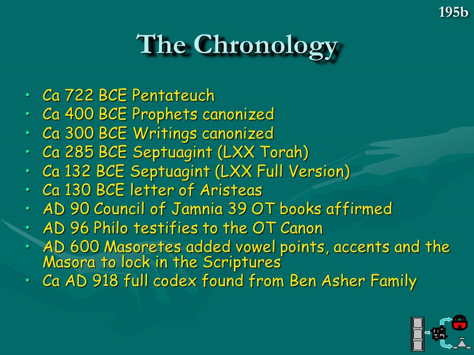 The Chronology 195b Ca 722 BCE Pentateuch