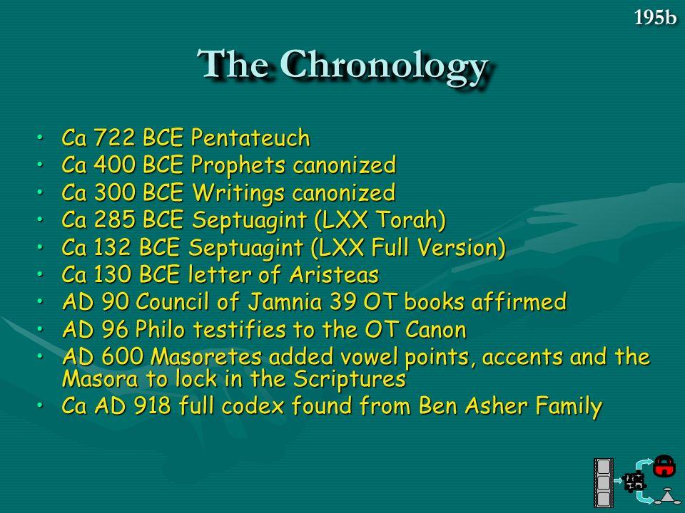 The Chronology 195b Ca 722 BCE Pentateuch