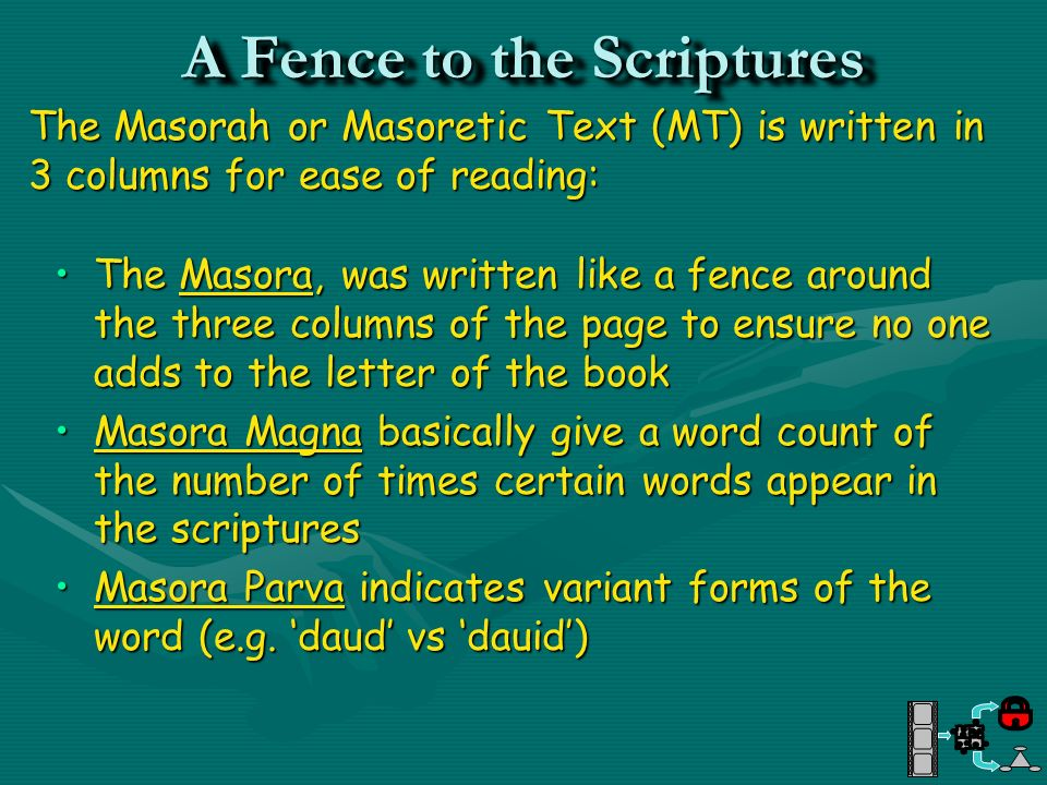 A Fence to the Scriptures
