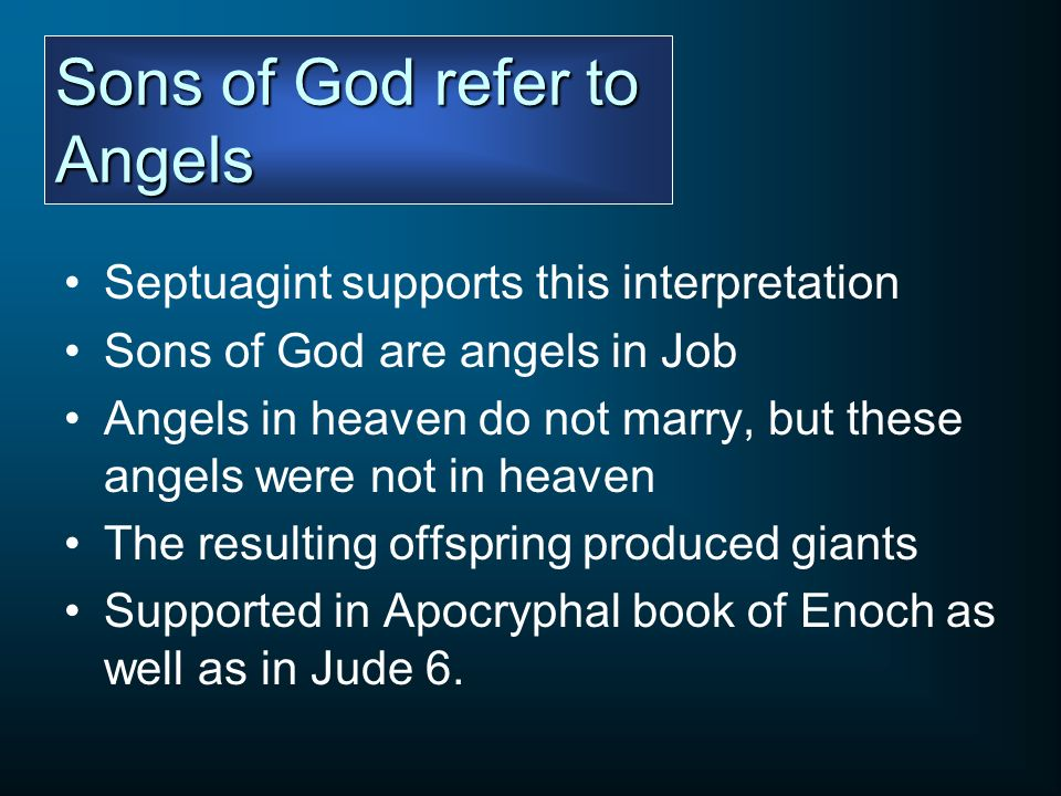 Sons of God refer to Angels