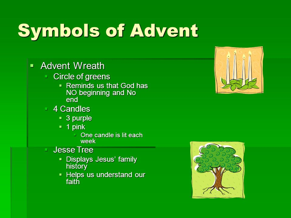 Symbols of Advent Advent Wreath Circle of greens 4 Candles Jesse Tree