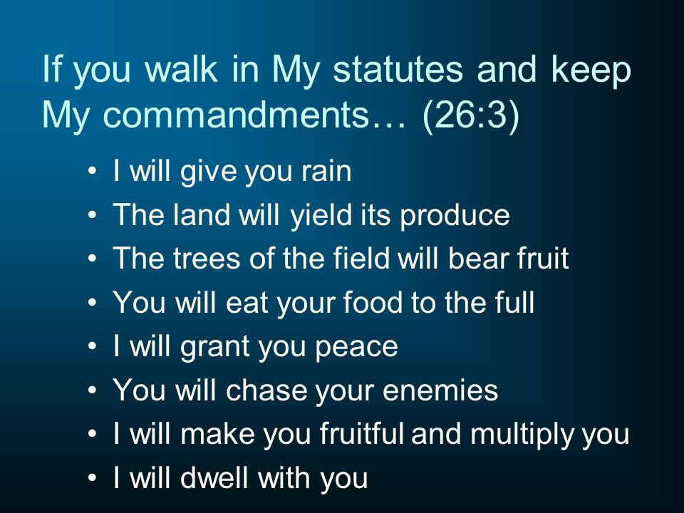 If you walk in My statutes and keep My commandments… (26:3)