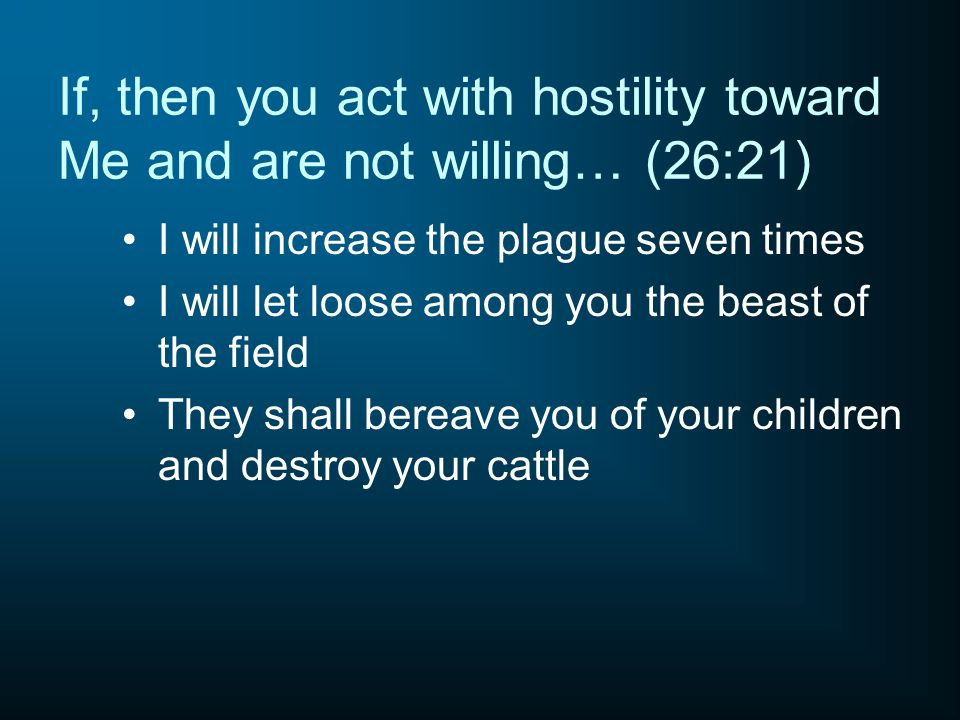 If, then you act with hostility toward Me and are not willing… (26:21)