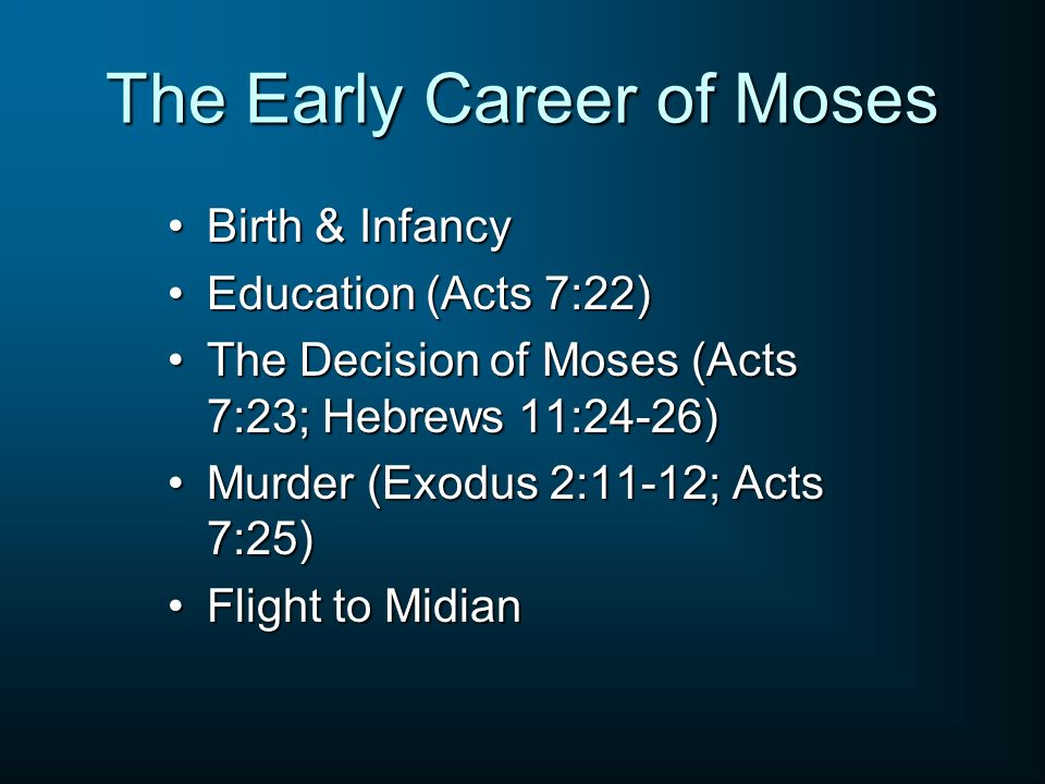 The Early Career of Moses