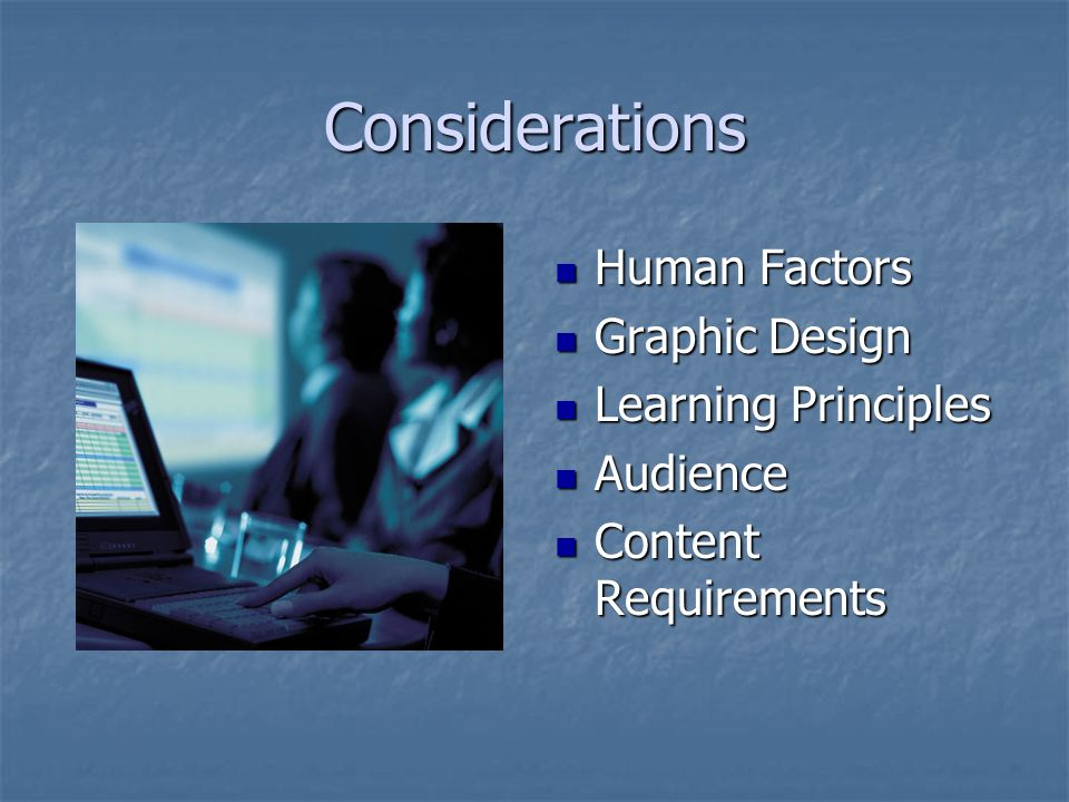 Considerations Human Factors Graphic Design Learning Principles
