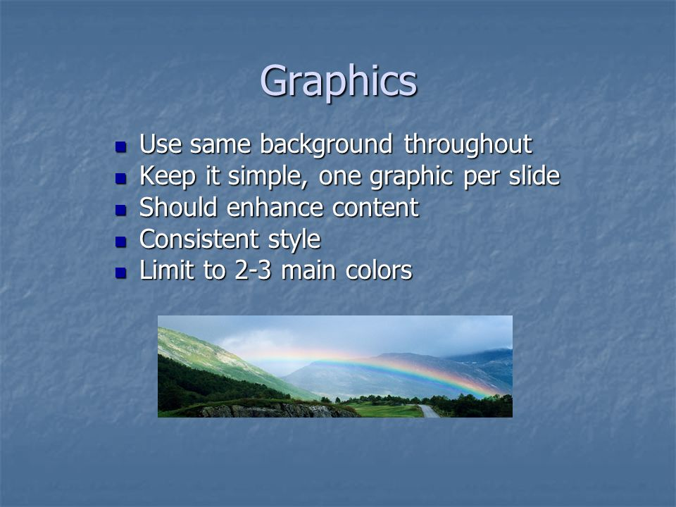 Graphics Use same background throughout