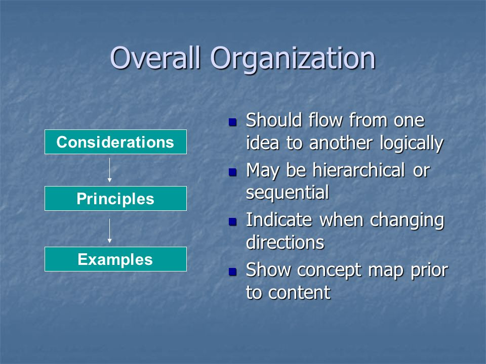 Overall Organization Should flow from one idea to another logically
