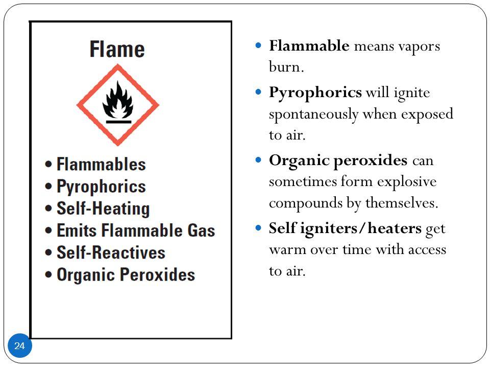 Flammable means vapors burn.
