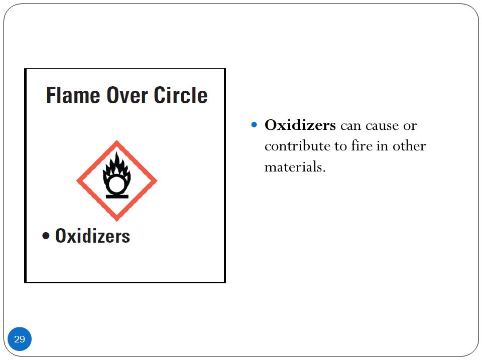 Oxidizers can cause or contribute to fire in other materials.