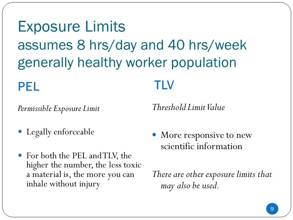 Exposure Limits assumes 8 hrs/day and 40 hrs/week generally healthy worker population