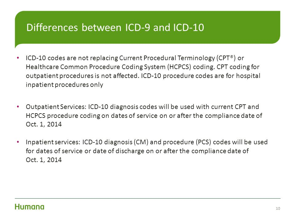 Differences between ICD-9 and ICD-10