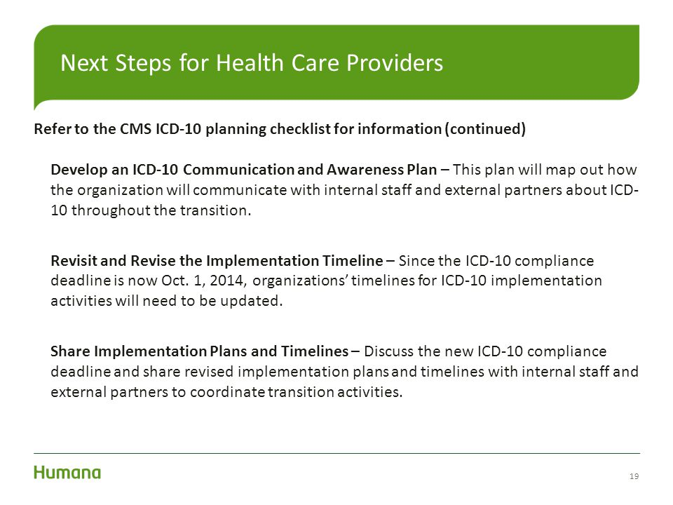 Next Steps for Health Care Providers