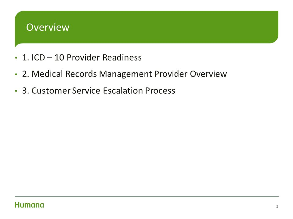 Overview 1. ICD – 10 Provider Readiness