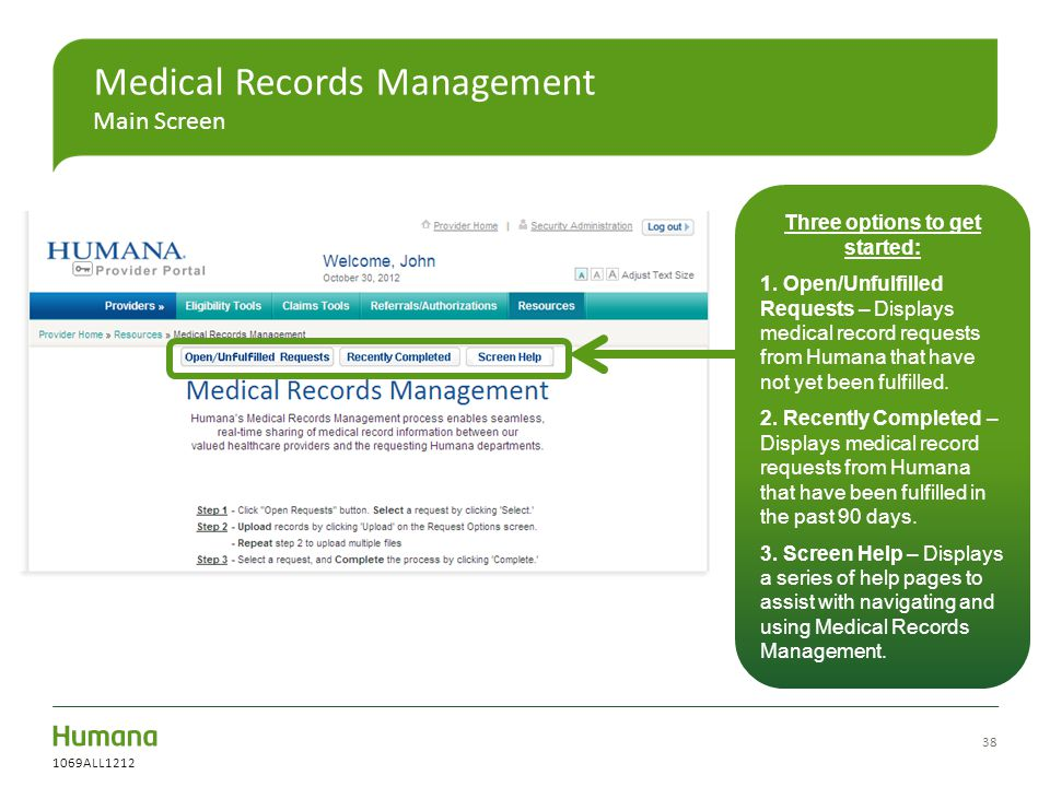 Medical Records Management Main Screen