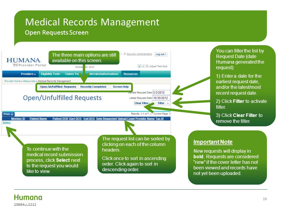 Medical Records Management Open Requests Screen